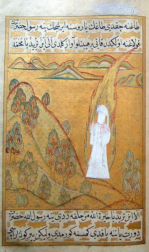 The Prophet Muhammad receives revelations at Mount Hira, al-Darir, Siyer-i Nebi (The Biography of the Prophet), Istanbul, Ottoman lands, 1595-1596. © Istanbul Topkapi Palace Library | tarekfatah.com