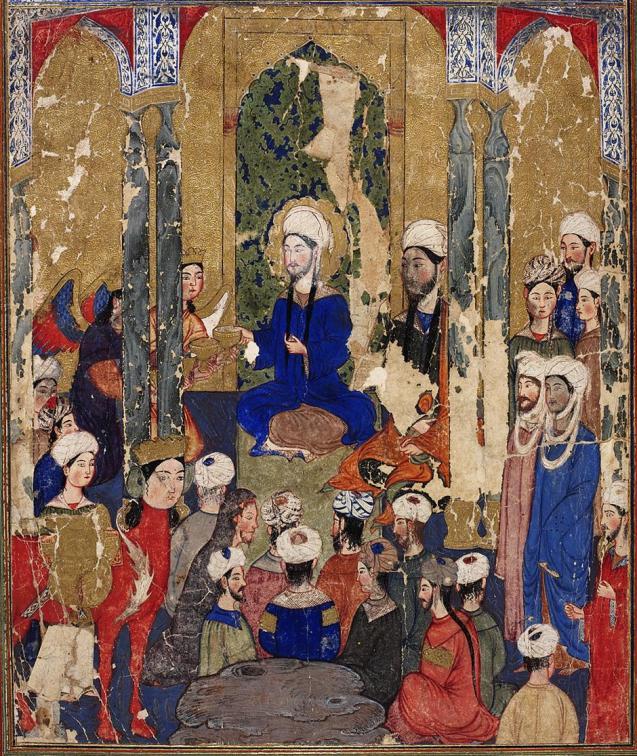 The Prophet Muhammad sits with the Abrahamic prophets in Jerusalem, anonymous, Mi'rajnama (Book of Ascension), Tabriz, ca. 1317-1330. © Istanbul Topkapi Palace Library | /tarekfatah.com