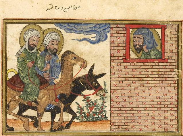 Isaiah's vision of Jesus riding a donkey and Muhammad riding a camel, al-Biruni, al-Athar al-Baqiyya 'an al-Qurun al-Khaliyya (Chronology of Ancient Nations), Tabriz, Iran, 1307-8. © Edinburgh University Library | tarekfatah.com