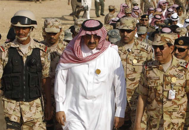 Saudi Arabia's Deputy Interior Minister Prince Mohammed bin Nayef arrives for a combat skills demonstration by soldiers graduating from the Saudi Special Forces at a base in Riyadh © Reuters