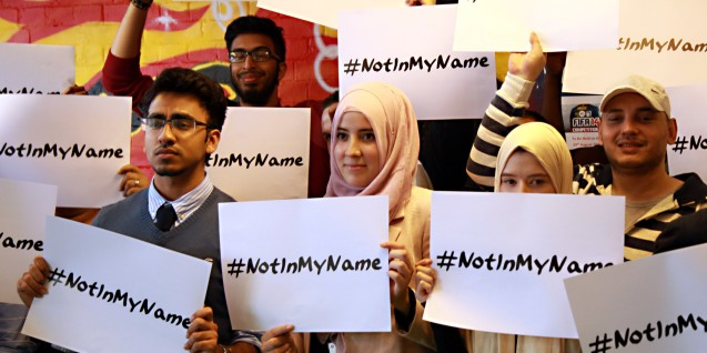 A group of young British Muslims has launched a campaign to reject ISIS, whose violent acts in recent weeks have drawn international condemnation. Led by East London-based charity Active Change Foundation, #notinmyname gives a voice to young muslims in the UK who have come together against the hate and violence espoused by the terror group. © All Rights Reserved