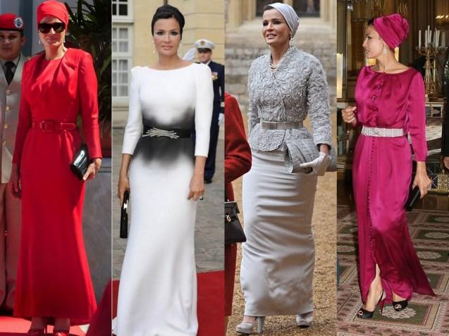 Os vários estilos da Sheika Mozah Bin Nasser Al-Missned, primeira-dama do Qatar, socióloga de profissão, mãe de sete dos 28 filhos do emir, Xeque Hamad bin Khalifa al-Thani, e a segunda das suas três mulheres © Direitos Reservados | All Rights Reserved