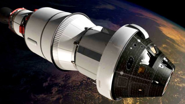 An artist's impression of the first Orion spacecraft in orbit attached to a Delta IV Upper Stage during Exploration Flight Test-1. © NASA