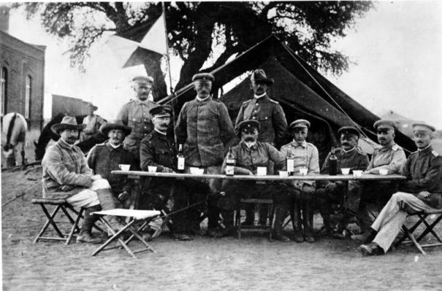 Central figure Lieutenant General Lothar von Trotha, the Oberbefehlshaber (Supreme Commander) of the protection force in German South-West Africa, in Keetmanshoop during the Herero uprising, 1904. ©