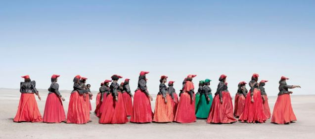 Traditional dress: Herero women marching in the incredible dress of their tribe. © Jim Naughten | The Daily Mail
