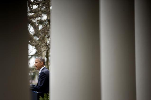 """President Barack Obama speaks in the Rose Garden of the White House in Washington, Abril 2, 2015. For him, the framework agreement with Iran was """"historic"""" and could pave the way for a final deal, on June 30, that """"would leave the world safer"""". © Pablo Martinez Monsivais   AP"""