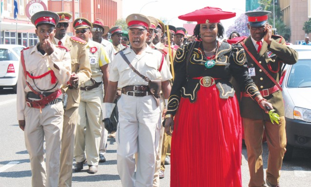 October 2011:Traditional Herero drill marching to the German Embassy on Friday in protest against the German government's alleged refusal to officially sign over the 20 Nama and Herero skulls from Germany © namibiansun.com