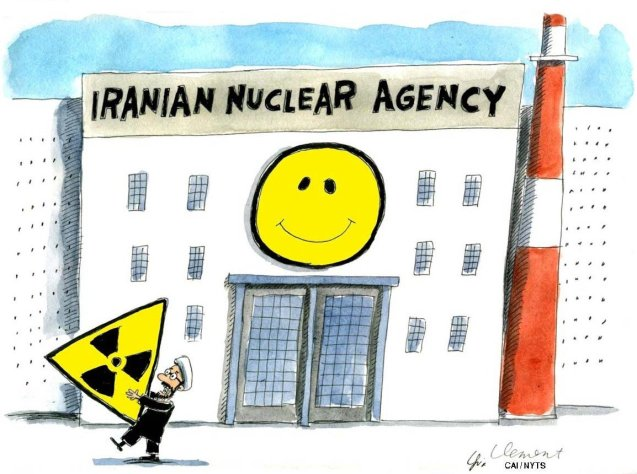Canadian cartoonist © Gary Clement on the new happy face of Iran's nuclear program. ©CartoonArts International | The New York Times