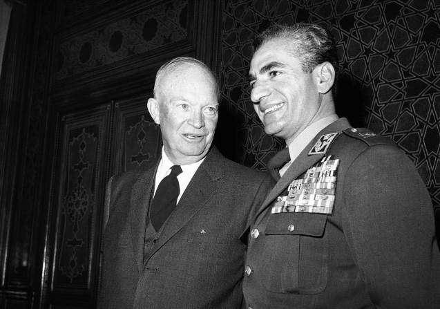 March 5, 1957: Iran signs the Iran-United States Agreement for Cooperation Concerning Civil Uses of Atomic Energy, which was part of President Eisenhower's Atoms for Peace program. Above: President Dwight D. Eisenhower and Shah Mohammed Reza Pahlevi of Iran pose on Dec. 14, 1959 at Marble Palace in Tehran, Iran following Eisenhower's arrival from India on his 11-nation goodwill tour. ©