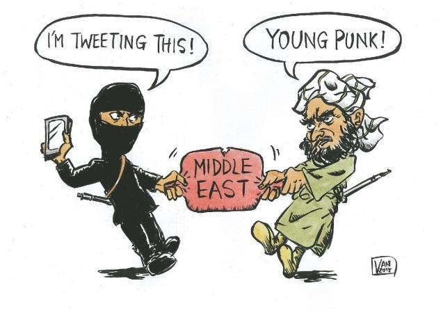 llustrating the power struggle between ISIS/DAESH and al-Qaeda. © nessasketches.wordpress.com