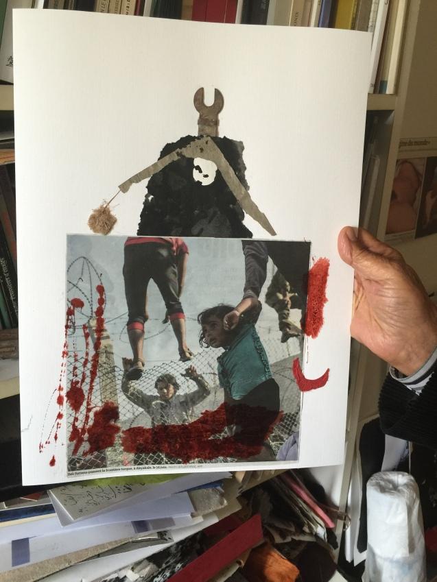 Adónis e uma das suas pinturas mais recentes (ainda inacabada), dedicada à Síria. © Margarida Santos Lopes