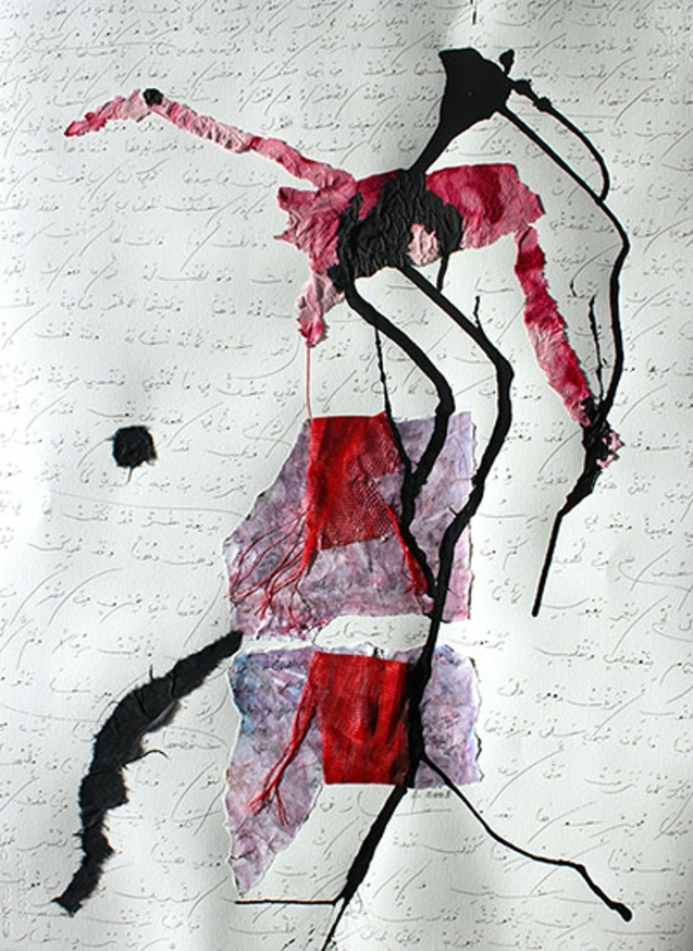 Untitled 2008 'This is the only collage in the exhibition where I've used black ink. It's a text from the 8th century – another beautiful love poem – this time by Bashar ibn Burd, one of the founders of Arab modernity at that time. He was killed by the Caliph after he was accused of being irreligious' © Adonis | The Guardian