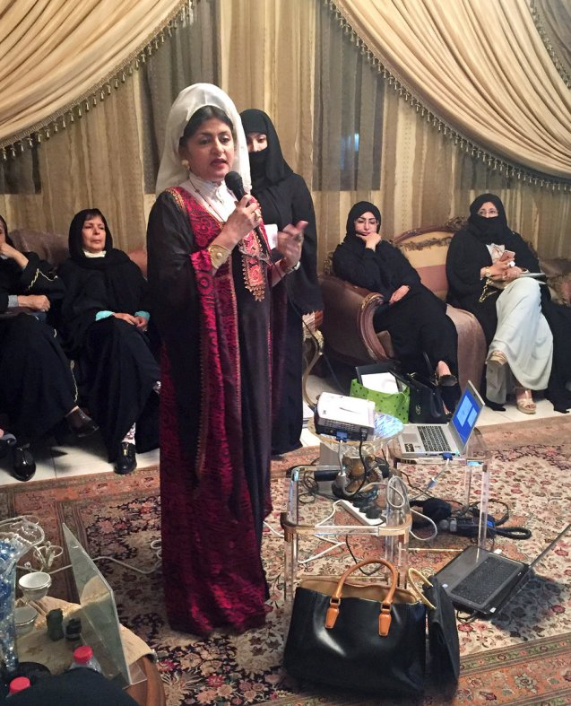 Dr. Hatoon al-Fassi speaks at a political meeting for women in Riyadh. © NPR