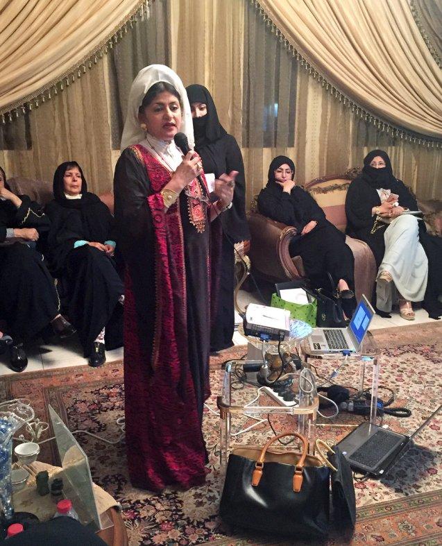 Dr. Hatoon al-Fassi speaks at a political meeting for women in Riyadh. © NPR