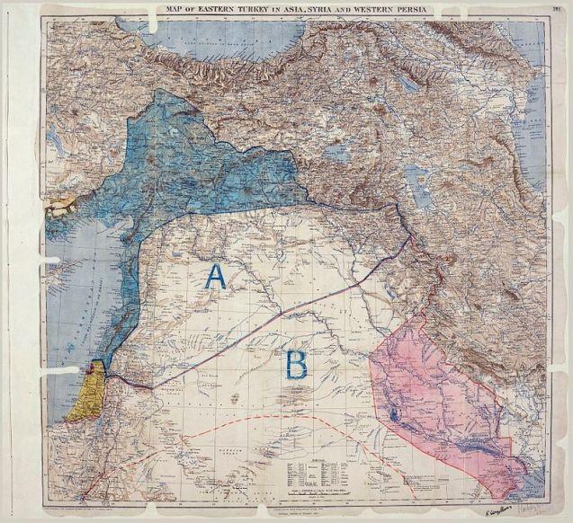 Mapa do Acordo de Sykes–Picot, onde se vêem as áreas de controlo e influência delimitadas por britânicos e franceses © Royal Geographical Society | The National Archives (UK)