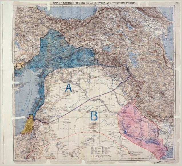 Mapa do Acordo de Sykes–Picot, onde se vêem as áreas de controlo e influência delimitadas por britânicos e franceses © Royal Geographical Society | The National Archives (UK)