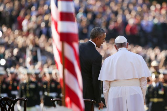 President Barack Obama and Pope Francis stand together on stage during a state arrival ceremony for the pope, Wednesday, Sept. 23, 2015, on the South Lawn of the White House in Washington. (On September 23, 2016, Pope Francis became only the third pope to visit the White House. © Andrew Harnik | AP